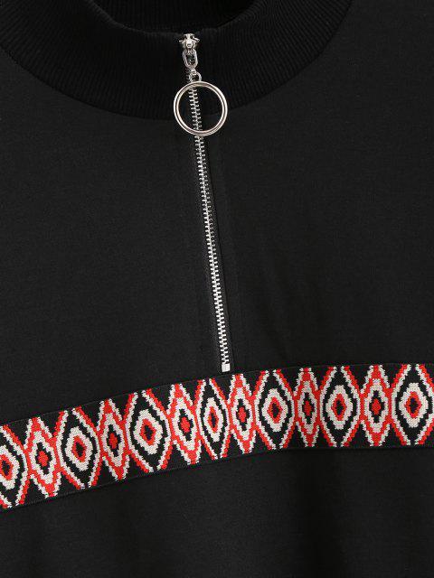 lady Tribal Patchwork Half Zipper Sweatshirt - BLACK M Mobile