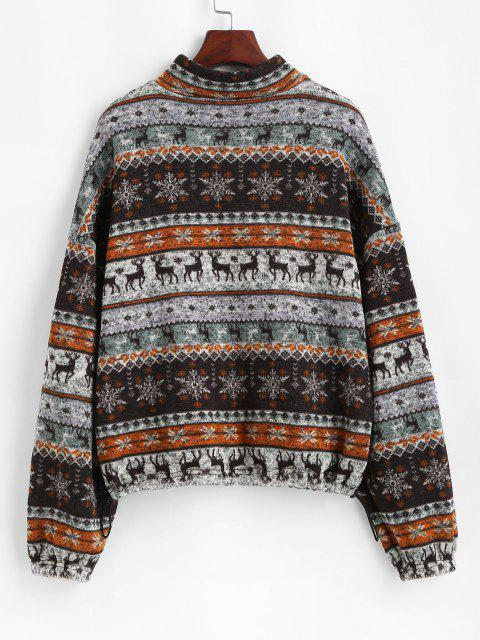 ZAFUL Fair Isle Knit Zip Up Jacket - متعددة-A XL Mobile