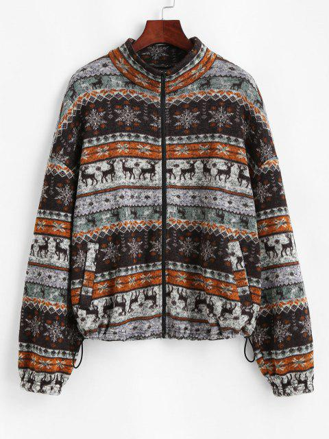 women ZAFUL Fair Isle Knit Zip Up Jacket - MULTI-A M Mobile