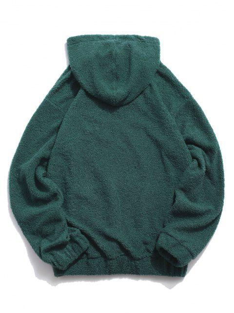women's Dreamer Embroidery American Flag Patch Teddy Hoodie - DEEP GREEN L Mobile