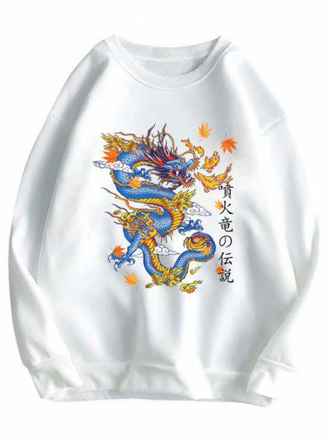 ladies Crewneck Fleece Lined Oriental Dragon Sweatshirt - WHITE 2XL Mobile
