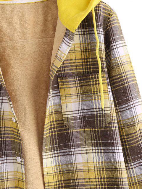 Veste à Capuche Boutonnée à Carreaux Imprimé en Laine avec Poche - Jaune L Mobile