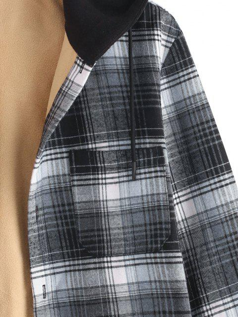 chic Hooded Button Up Plaid Print Pocket Fleece Jacket - GRAY 2XL Mobile