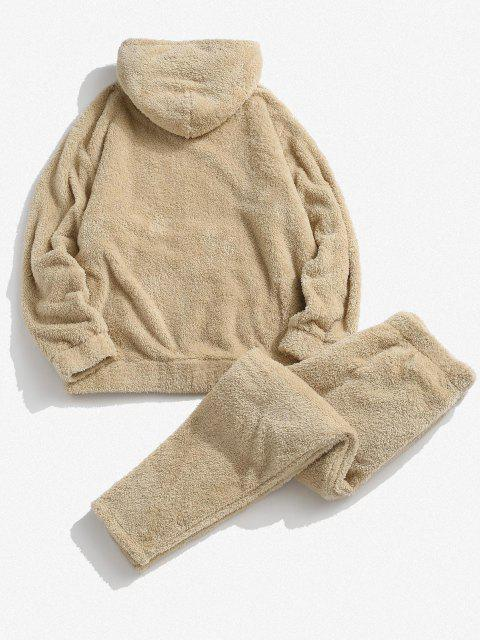 sale Solid Front Pocket Fluffy Hoodie And Pants Two Piece Set - LIGHT COFFEE XL Mobile