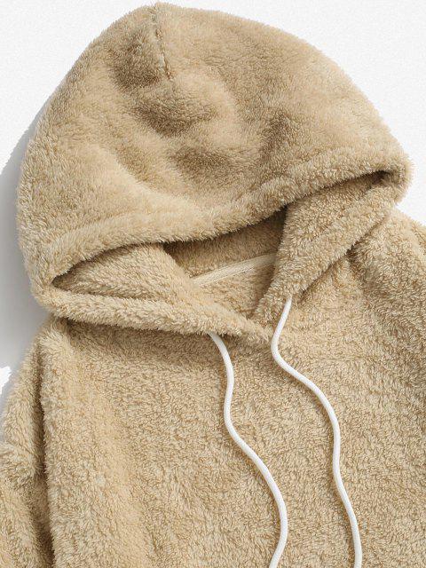 Feste Tasche Flauschige Hoodie und Hose Set - Licht Kaffee 2XL Mobile