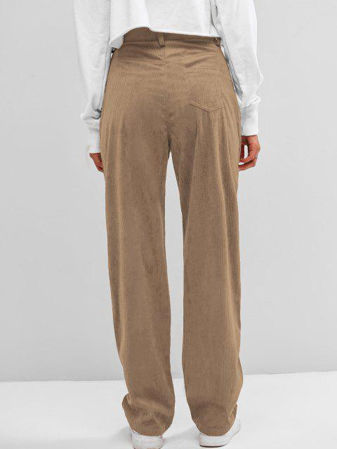 unique ZAFUL High Waisted Corduroy Pants - TAN M Mobile