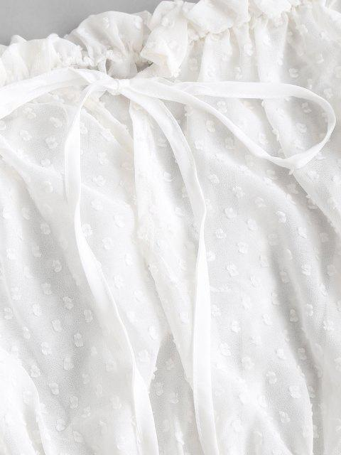 trendy Tie Collar Swiss Dot Off Shoulder Blouse - WHITE L Mobile