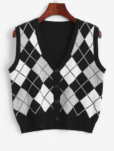 Argyle Button Up Sweater Vest - Black