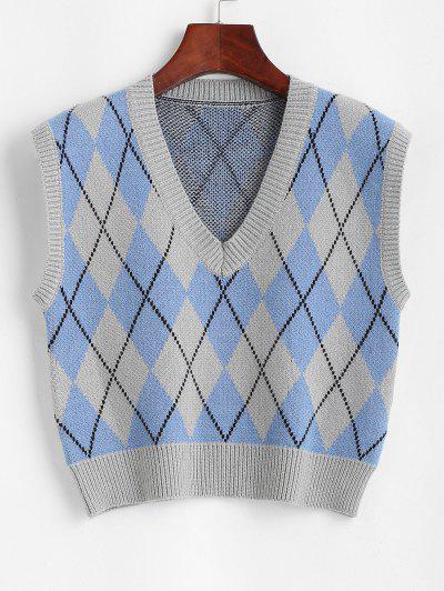 Argyle Cropped Sweater Vest - Blue