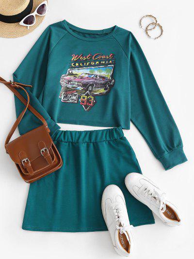 Car CALIFORNIA Graphic Sweat Two Piece Dress - Deep Green M