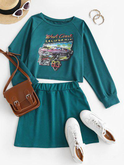 Car CALIFORNIA Graphic Sweat Two Piece Dress - Deep Green S