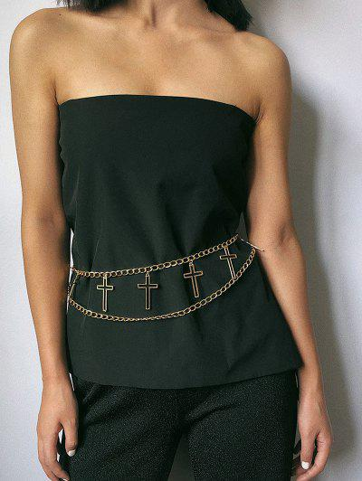 Hollow Cross Layered Waist Chain - Golden