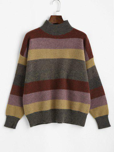 Mock Neck Striped Colorblock Sweater - Multi