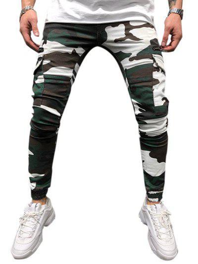 Pantalon Cargo Camouflage Imprimé Fuselé Avec Multi-Poches - Vert Trèfle Xxl