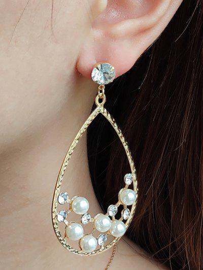 Faux Pearl Rhinestone Water Drop Shape Earrings - Golden