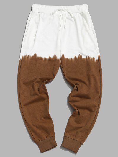 Ombre Print Drawstring Jogger Sweatpants - Khaki M