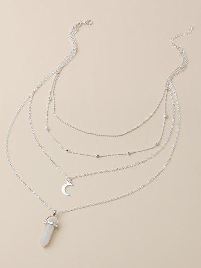 Moon Shape Pendant Multi Layered Necklace - Silver
