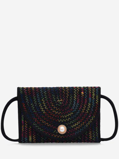 Woven Design Envelope Shape Crossbody Bag - Black