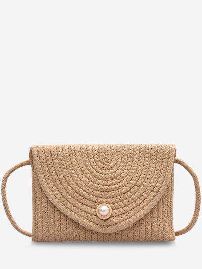 Woven Design Envelope Shape Crossbody Bag - Light Khaki