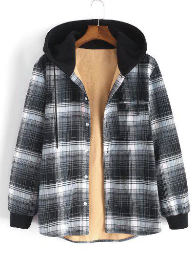 Hooded Button Up Plaid Print Pocket Fleece Jacket - Gray L