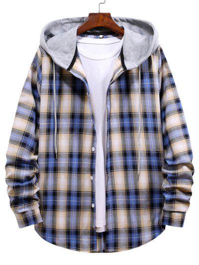 Plaid Pattern Colorblock Panel Hooded Shirt - Lapis Blue L