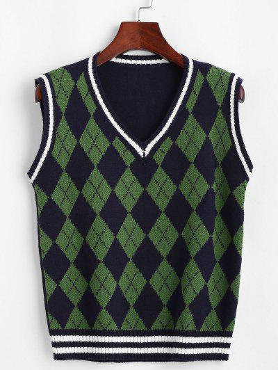 Argyle Striped Trim Sweater Vest - Deep Blue