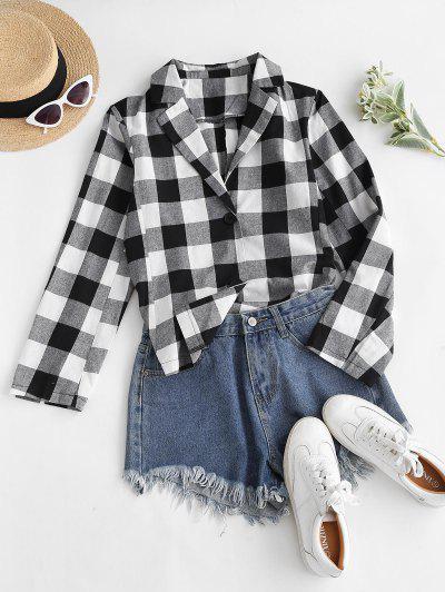 Button Up High Low Slit Plaid Shirt - Black L