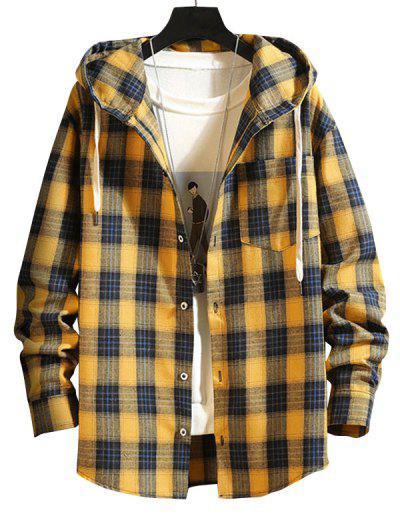 Plaid Pattern Pocket Patch Hooded Shirt Jacket - Golden Brown M