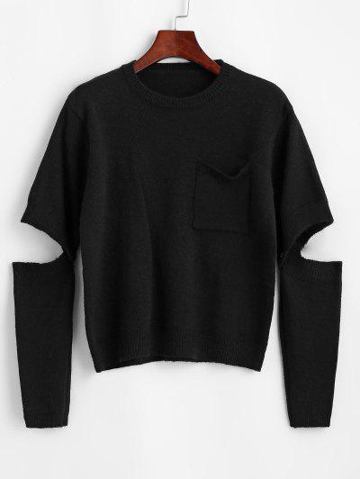 Crewneck Front Pocket Sweater With Detachable Sleeves - Black