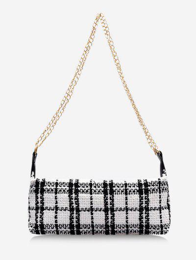 Plaid Print Wool Blend Shoulder Bag - Milk White