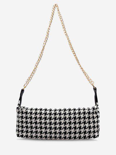 Houndstooth Print Chain Strap Shoulder Bag - Black