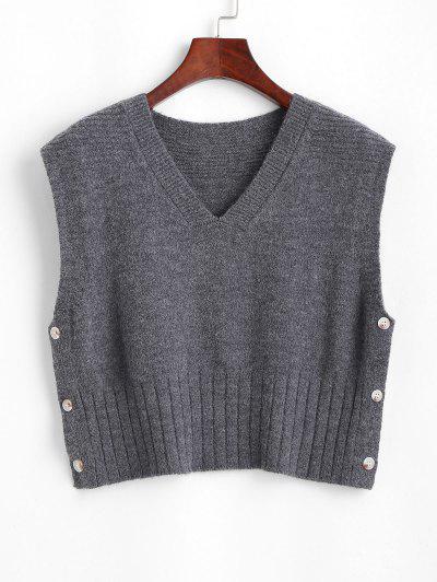 Pullover Weste Mit V Ausschnitt Und Seitlichem Knopf - Grau