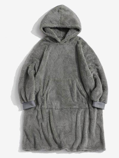 Front Pocket Drop Shoulder Fluffy Blanket Hoodie - Gray Xl