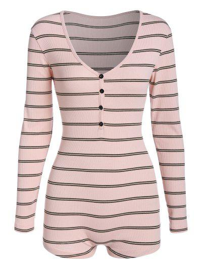 ZAFUL V Neck Striped Henley Unitard - Light Pink M