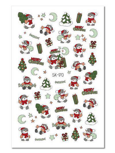 Christmas Snowman Pattern Nail Stickers - Multi