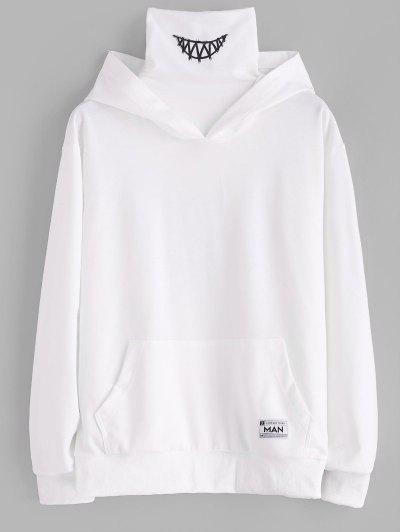 Kangaroo Pocket Letter Applique Double Collar Hoodie - White 2xl