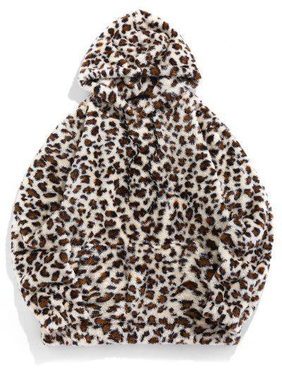 ZAFUL Leopard Pattern Kangaroo Pocket Fluffy Hoodie - Multi S