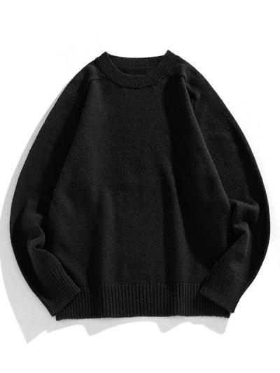 Crew Neck Raglan Sleeve Pullover Sweater - Black L