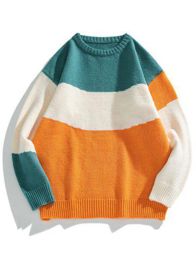Colorblock Graphic Crew Neck Sweater - Mango Orange Xl