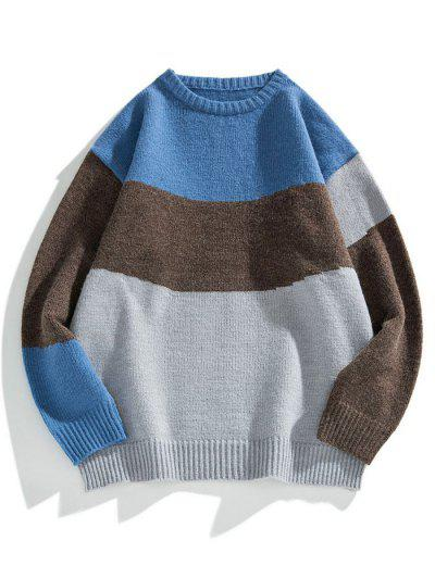 Colorblock Graphic Crew Neck Sweater - Battleship Gray M
