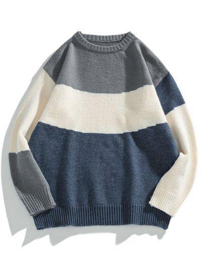 Colorblock Graphic Crew Neck Sweater - Dark Slate Blue 3xl