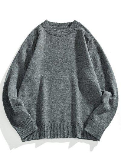 Crew Neck Raglan Sleeve Pullover Sweater - Dark Gray 3xl