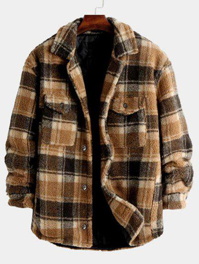 Plaid Pattern Pocket Button Up Teddy Jacket - Coffee S