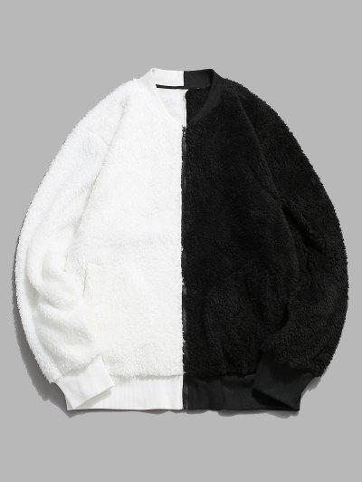 Zip Up Contrast Fluffy Jacket - White Xl
