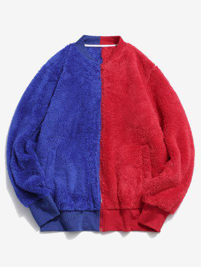 Zip Up Contrast Fluffy Jacket - Red L