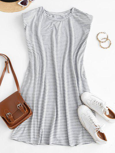 Casual Stripes Shoulder Pads Mini Dress - White M