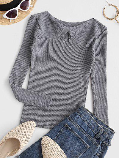 Ribbed Twist Front Basic Knitwear - Gray
