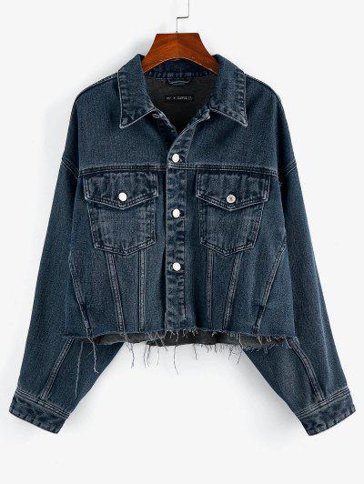 ZAFUL Drop Shoulder Frayed Hem Denim Jacket - Deep Blue S