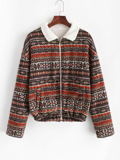 ZAFUL Faux Fur Lined Tribal Print Jacket - Deep Brown L