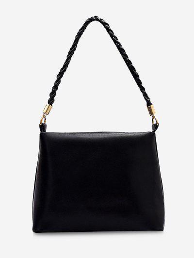 Weaving Belt PU Leather Tote Bag - Black
